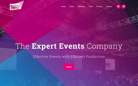 Screenshot of Home Page purplepatchgroup.co.uk - The London Event Company | Purple Patch | Creative Communications Agency in London | Presentation Experts, Events Management & Design Services | Purple Patch - captured July 24, 2018