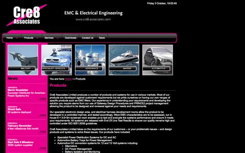 Screenshot of Products Page cre8-associates.com - EMC, EMC filters, Electrical Engineering, EMC Consultancy & Testing. - captured Oct. 3, 2014