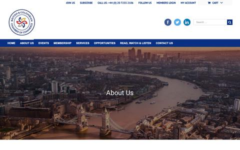 Screenshot of About Page britishandcolombianchamber.com - About the Chamber - British and Colombian Chamber of Commerce - captured Dec. 19, 2018