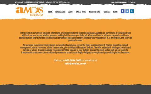Screenshot of Home Page amdas.co.uk - Amdas Recruitment - captured Sept. 10, 2015