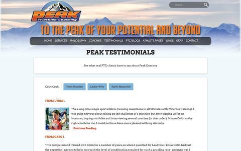 Screenshot of Testimonials Page peaktricoaching.com - Peak Testimonials - Peak Tri Coaching - captured Oct. 27, 2016