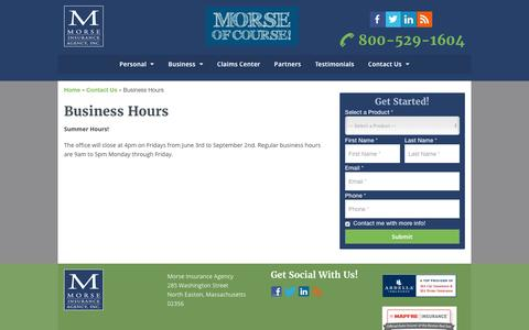 Screenshot of Hours Page morseins.com - Business Hours   Morse Insurance Agency - captured June 23, 2016