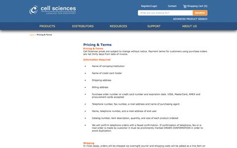 Screenshot of Terms Page cellsciences.com - Pricing & Terms |  Cell Sciences - captured July 19, 2017