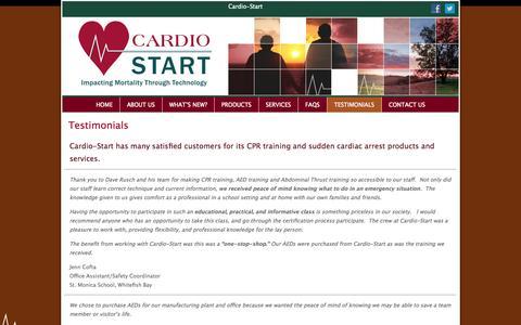 Screenshot of Testimonials Page cardio-start.com - Cardio-Start Testimonials - CPR Training & Products, Milwaukee - captured Sept. 30, 2014