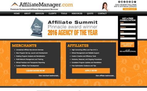 Screenshot of Home Page affiliatemanager.com - Affiliate Manager | Affiliate Program Management Company - captured Jan. 19, 2016