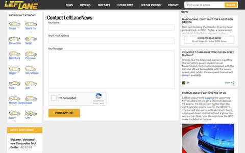 Screenshot of Contact Page leftlanenews.com - Contact - LeftLaneNews - captured Jan. 19, 2018