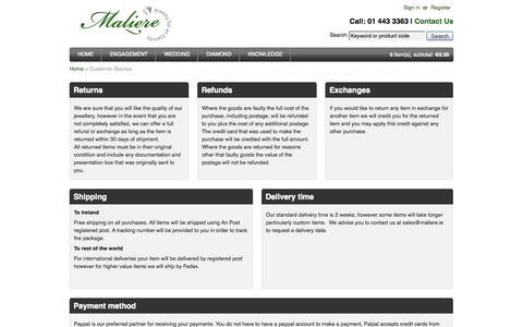 Screenshot of Privacy Page Support Page maliere.ie - Maliere Jewellers, Ireland - Customer Service - captured Oct. 23, 2014
