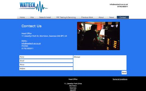 Screenshot of Contact Page wattech-av.co.uk - Wattech AV - Contact - captured Oct. 19, 2017