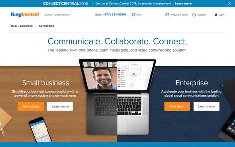 Screenshot of ringcentral.com - All-in-One Phone, Team Messaging, Video Conferencing | RingCentral - captured Sept. 29, 2018