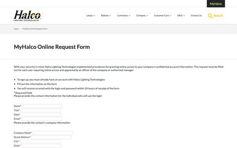 Screenshot of Signup Page halcolighting.com - MyHalco Online Request Form | Halco Lighting Technologies - captured Sept. 26, 2018