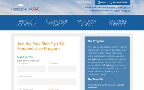Screenshot of Signup Page parkrideflyusa.com - Join the Frequent User Program  - Park Ride Fly USA - - captured June 24, 2017