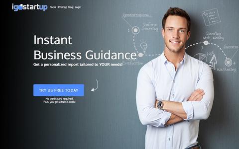 Screenshot of Home Page igostartup.com - Instant Business Guidance! - iGoStartup - captured Sept. 30, 2014