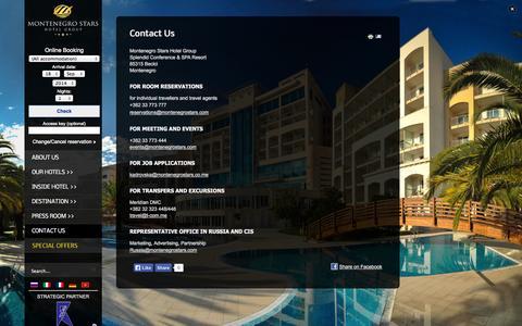 Screenshot of Contact Page montenegrostars.com - Contact Us - captured Sept. 18, 2014