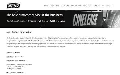 Screenshot of Jobs Page cinelease.com - Contact Our Team - captured Jan. 17, 2017