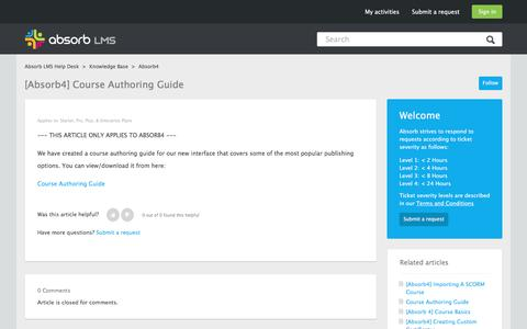 Screenshot of Support Page absorblms.com - [Absorb4] Course Authoring Guide – Absorb LMS Help Desk - captured Jan. 13, 2017