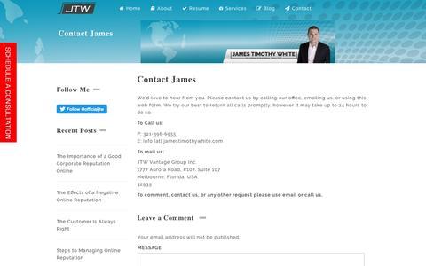 Screenshot of Contact Page jamestimothywhite.com - Contact James - captured May 27, 2017