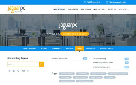 Screenshot of Blog jaguarpc.com - Web Hosting News, Tips, Tricks & More - JaguarPC Blog - captured Oct. 8, 2018