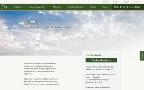 Screenshot of Jobs Page forestlawn.com - Careers - Forest Lawn - captured Sept. 23, 2018