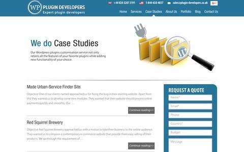 Screenshot of Case Studies Page plugin-developers.co.uk - Wordpress Plugin Case Studies - captured May 23, 2016