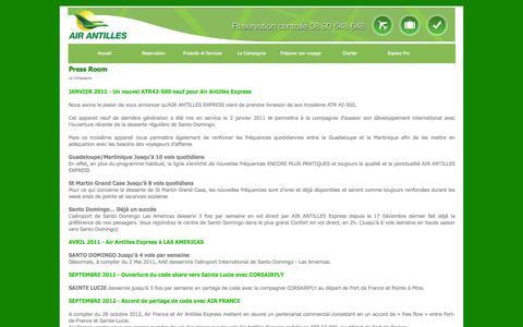 Screenshot of Press Page airantilles.com - Press Room - captured Sept. 25, 2014