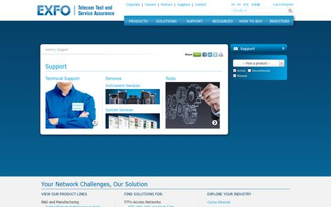 Screenshot of Support Page exfo.com - Technical Support | Instrument Services | System Services - captured July 18, 2014