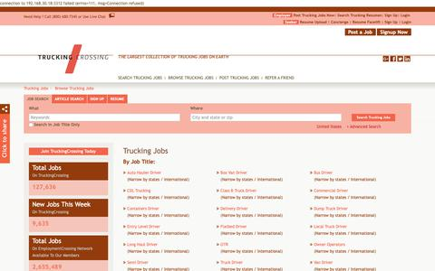 Screenshot of Jobs Page truckingcrossing.com - Browse Trucking Jobs By Job Title, City, State | TruckingCrossing.com - captured Oct. 20, 2018