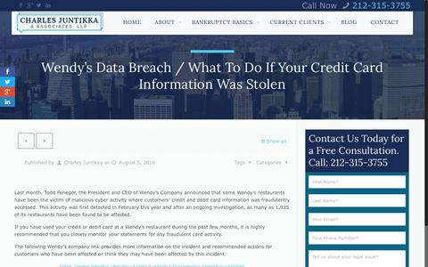 Screenshot of cjalaw.com - Wendy's Data Breach / What To Do If Your Credit Card Information Was Stolen - Charles Juntikka & AssociatesCharles Juntikka & Associates - captured Sept. 14, 2016