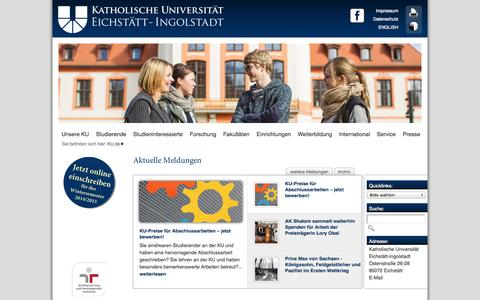 Screenshot of Home Page ku-eichstaett.de - Homepage der KU - Katholische Universität Eichstätt-Ingolstadt - captured Sept. 22, 2014