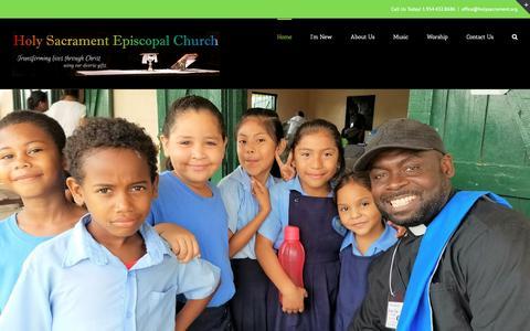 Screenshot of Home Page holysacrament.org - Holy Sacrament Episcopal Church - Pembroke Pines, Florida - captured Sept. 29, 2018