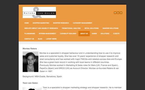 Screenshot of About Page rateravangalen.com - about us - Shopper Research and Shopper Marketing Experts - captured Oct. 7, 2014