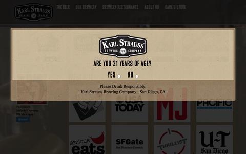 Screenshot of Press Page karlstrauss.com - Press & Media | Karl Strauss Brewing Company - captured Sept. 23, 2014