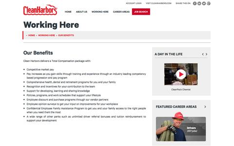 Screenshot of Jobs Page cleanharbors.com - Our Benefits | Working Here | Careers at Clean Harbors - captured April 27, 2017