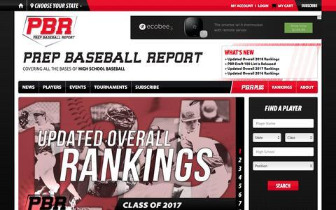 Screenshot of Home Page prepbaseballreport.com - Prep Baseball Report - captured Dec. 12, 2015