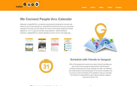 Screenshot of About Page watzzgood.com - watzzGOOD - We Connect People thru Calendar - captured Oct. 27, 2014