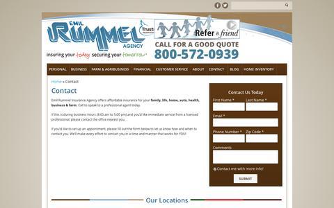 Screenshot of Contact Page rummelinsurance.com - Contact Us   Emil Rummel Insurance Agency - captured Oct. 2, 2014