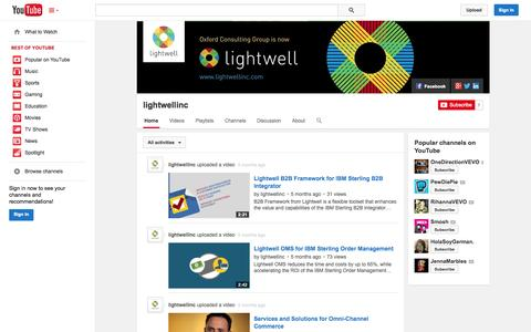 Screenshot of YouTube Page youtube.com - lightwellinc  - YouTube - captured Oct. 23, 2014