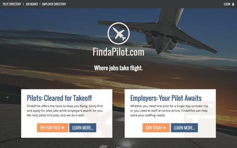 Screenshot of Home Page findapilot.com - Pilot Jobs and Pilot Search | FindaPilot.com - captured Jan. 23, 2015