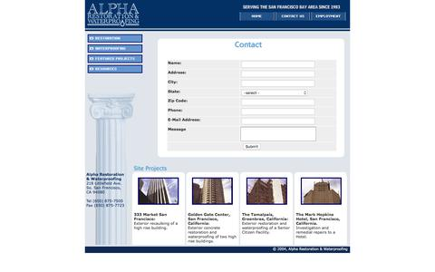 Screenshot of Contact Page alpharestoration.com - Alpha Restoration & WaterProofing - captured Feb. 5, 2016