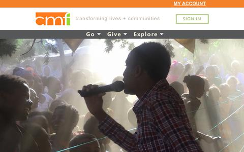 Screenshot of Home Page cmfi.org - CMF International » transforming lives & communities - captured July 8, 2017