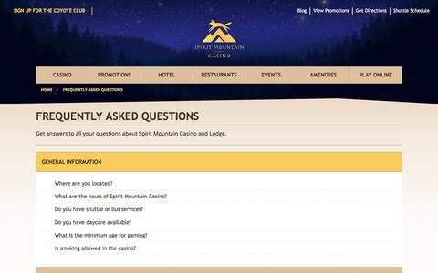 Screenshot of FAQ Page spiritmountain.com - Frequently Asked Questions   | Spirit Mountain Casino - captured July 23, 2016