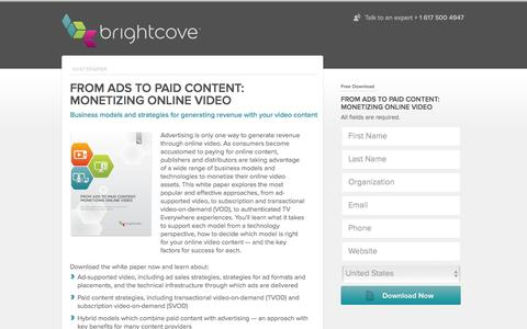 Screenshot of Landing Page brightcove.com - Brightcove | From Ads to Paid Content- Monetizing Online Video - captured Feb. 24, 2016