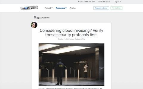 Screenshot of invoiced.com - Considering cloud invoicing?  Verify these security protocols first. - captured Oct. 29, 2017