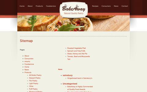 Screenshot of Site Map Page bakeaway.uk.com - Sitemap - Bakeaway - captured Nov. 6, 2018