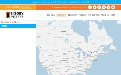 Screenshot of Locations Page biggby.com - BIGGBY® COFFEE Locations- Find the BIGGBY® closest to you and B a part of BIGGBY® Nation - captured Oct. 9, 2017