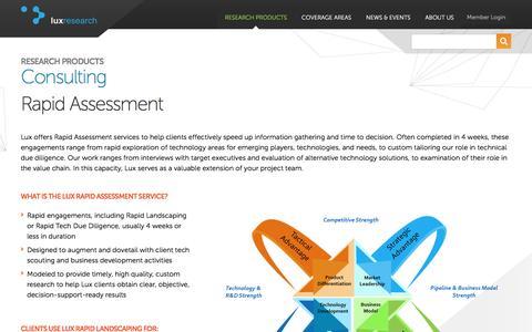 Screenshot of luxresearchinc.com - Rapid Assessment | Lux Research - captured Jan. 9, 2017