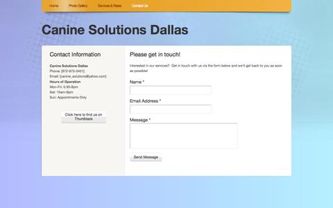 Screenshot of Contact Page webs.com - Canine Solutions Dallas - Contact Us - captured Sept. 13, 2014