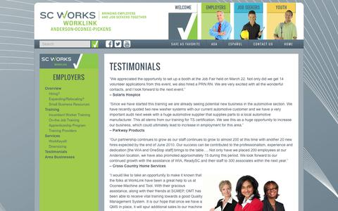 Screenshot of Testimonials Page worklinkweb.com - Testimonials - SC Works Worklink - captured Feb. 24, 2016