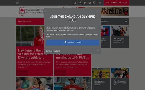 Screenshot of Home Page olympic.ca - Official Canadian Olympic Team Website | Team Canada | 2014 Winter Olympics | Your home for Canada's Olympic Team. Find stories, videos and photos of Canada's athletes, Olympic sports, the 2014 games and so much more! - captured Oct. 1, 2015
