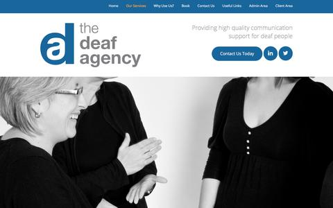 Screenshot of Services Page deafagency.co.uk - Our Services  |  The Deaf Agency - captured Oct. 28, 2017