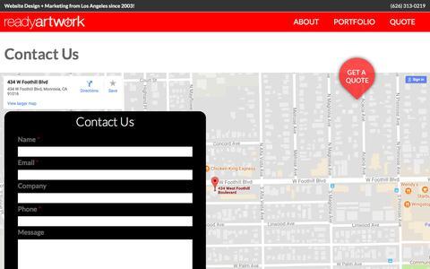 Screenshot of Contact Page readyartwork.com - Contact Us | Ready Artwork - Websites, Design & Marketing - captured June 20, 2017